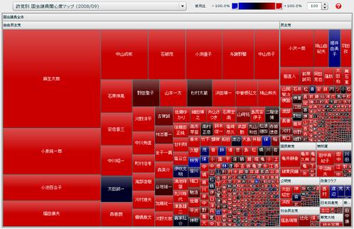前月比がマイナスの場合を青系統、プラスの場合を赤系統の色に変更後のマップ表示